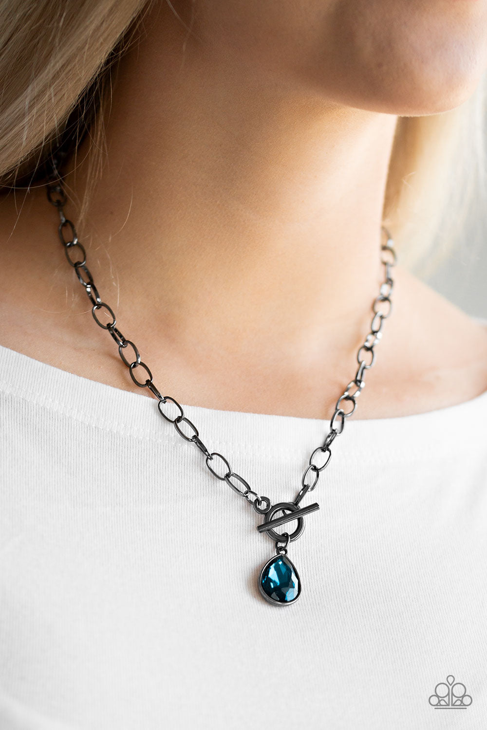 So Sorority - Blue Necklace - Paparazzi Accessories