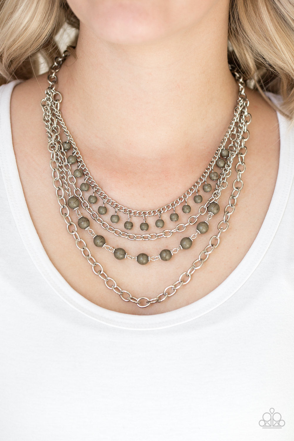 Ground Forces - Green Necklace - Paparazzi Accessories