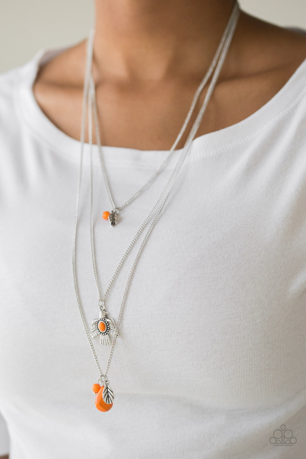 Soar With The Eagles - Orange Necklace - Paparazzi Accessories