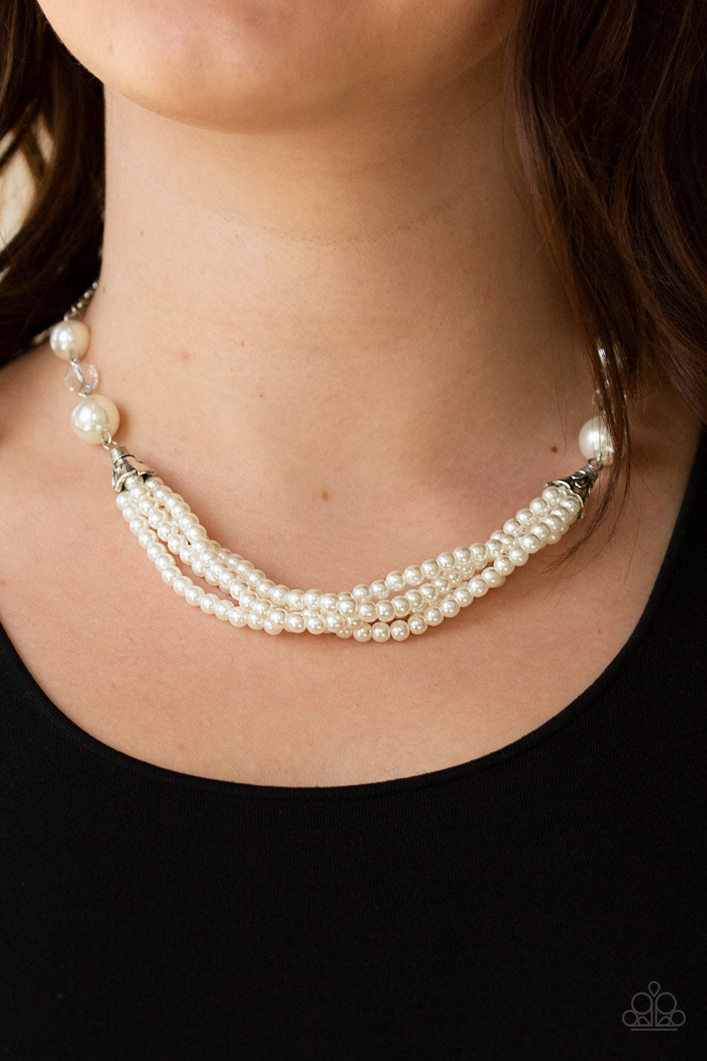 One-WOMAN Show - White Necklace - Paparazzi Accessories