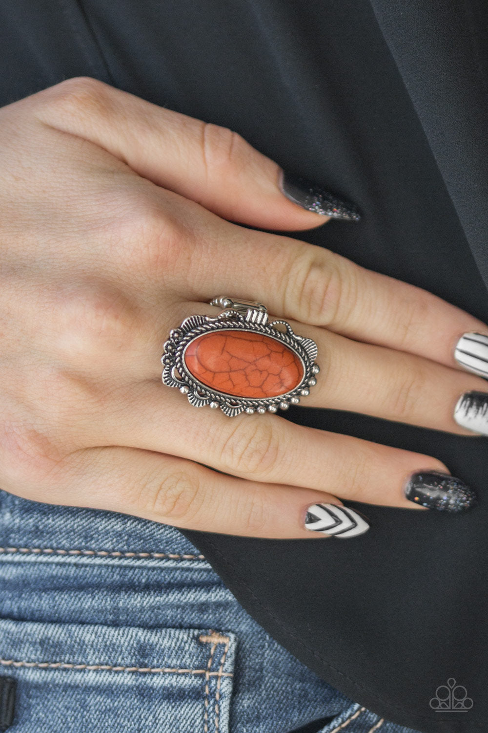 Open Range - Orange Ring - Paparazzi Accessories