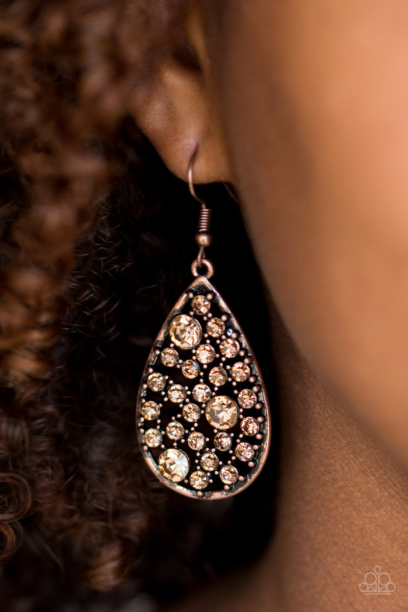GLOW With The Flow - Copper Earrings - Paparazzi Accessories