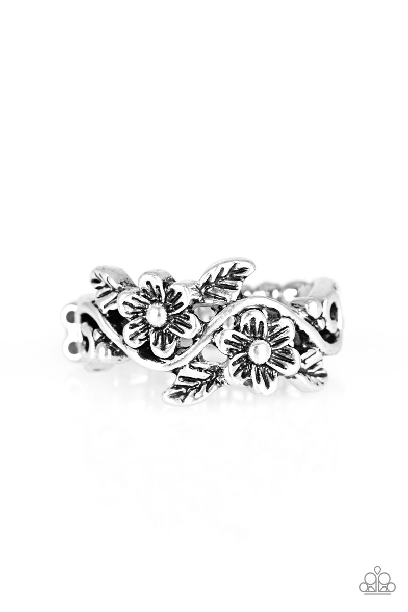 five-dollar-jewelry-stop-and-smell-the-flowers-silver-ring-paparazzi-accessories