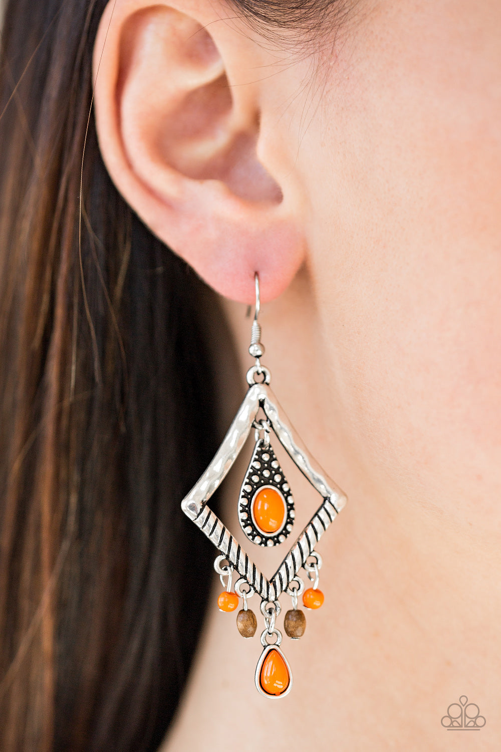 Southern Sunsets - Orange Earrings - Paparazzi Accessories