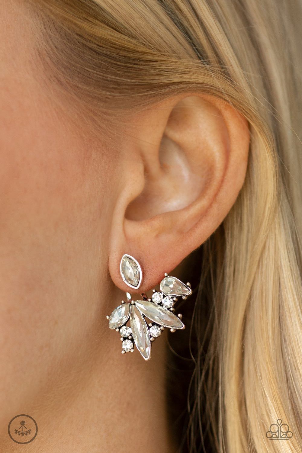 Deco Dynamite - White Post Earrings - Paparazzi Accessories