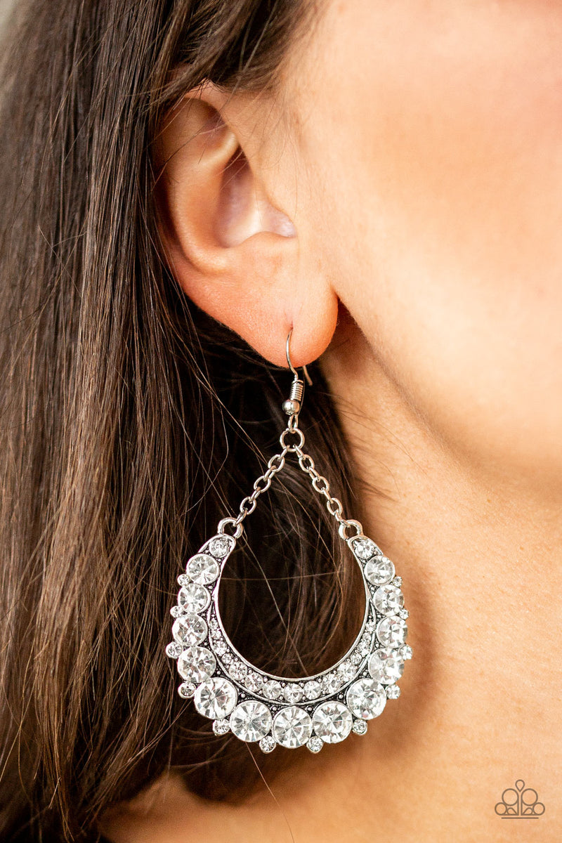 Once In A SHOWTIME - White Earrings - Paparazzi Accessories