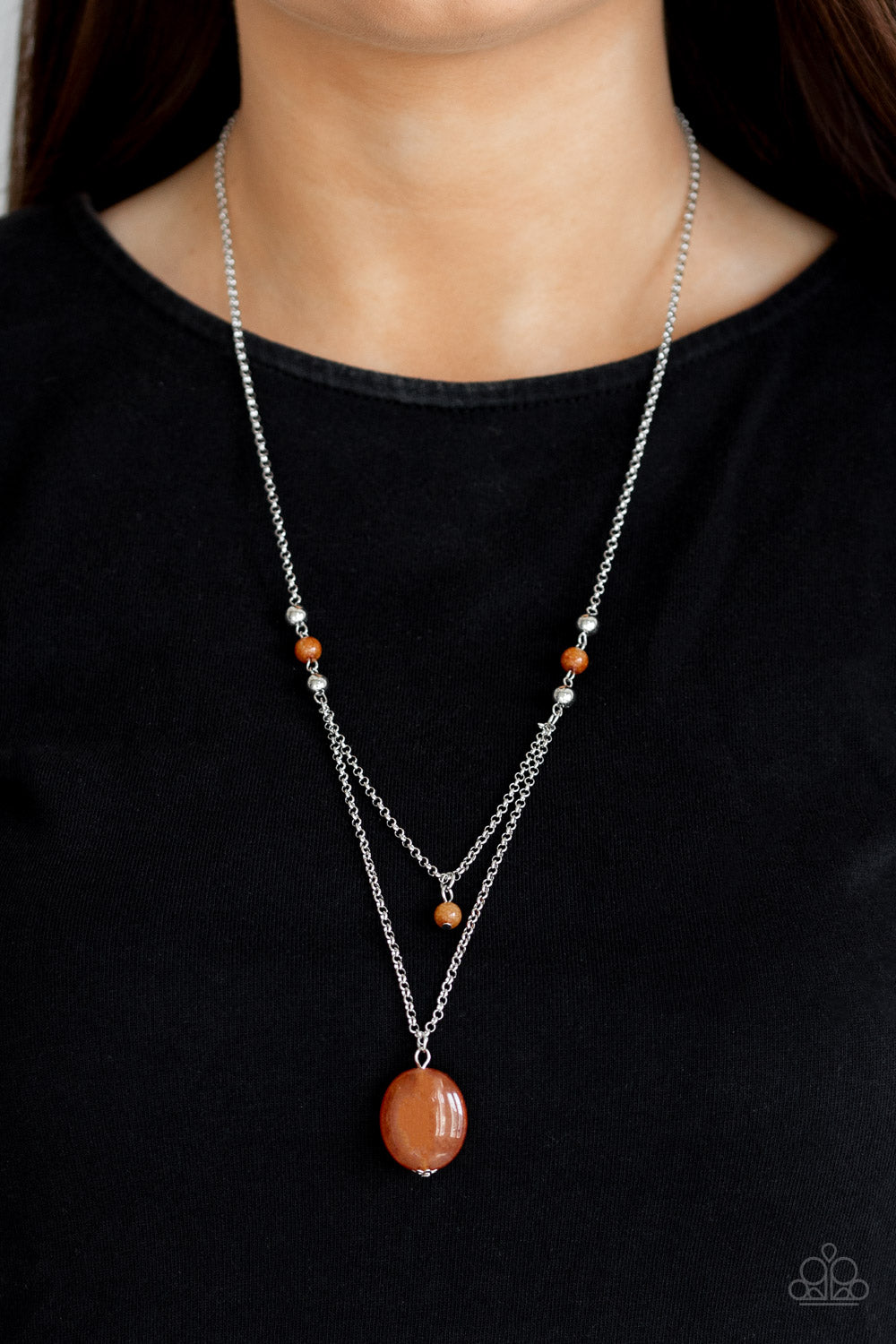 Time To Hit The ROAM - Orange Necklace - Paparazzi Accessories