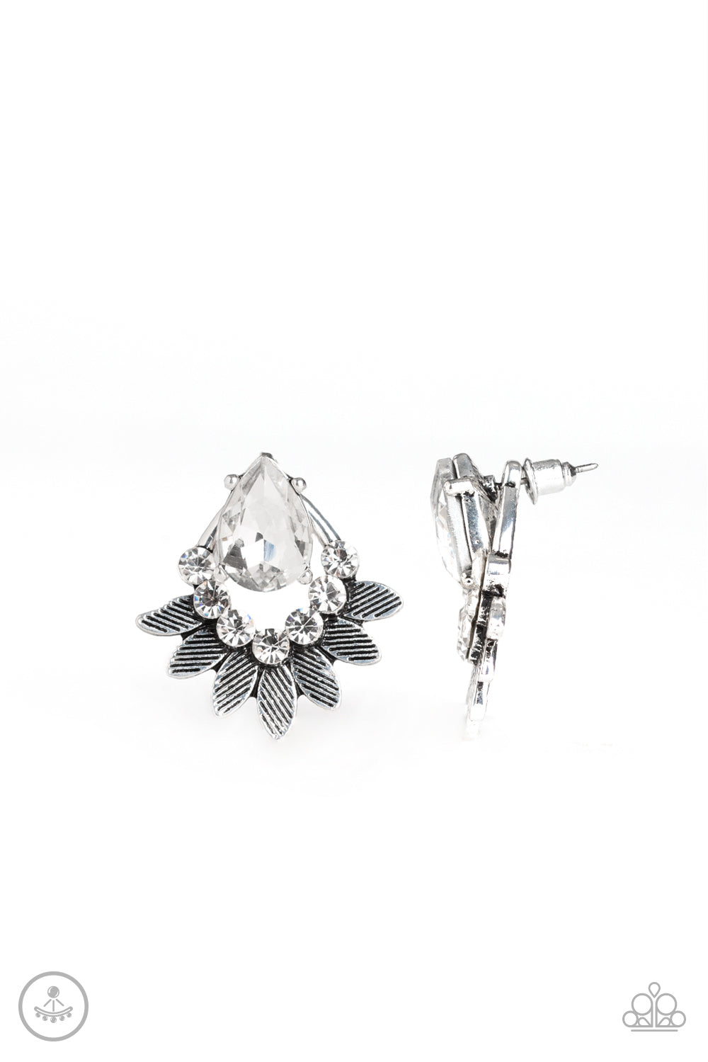 five-dollar-jewelry-crystal-canopy-white-post earrings-paparazzi-accessories