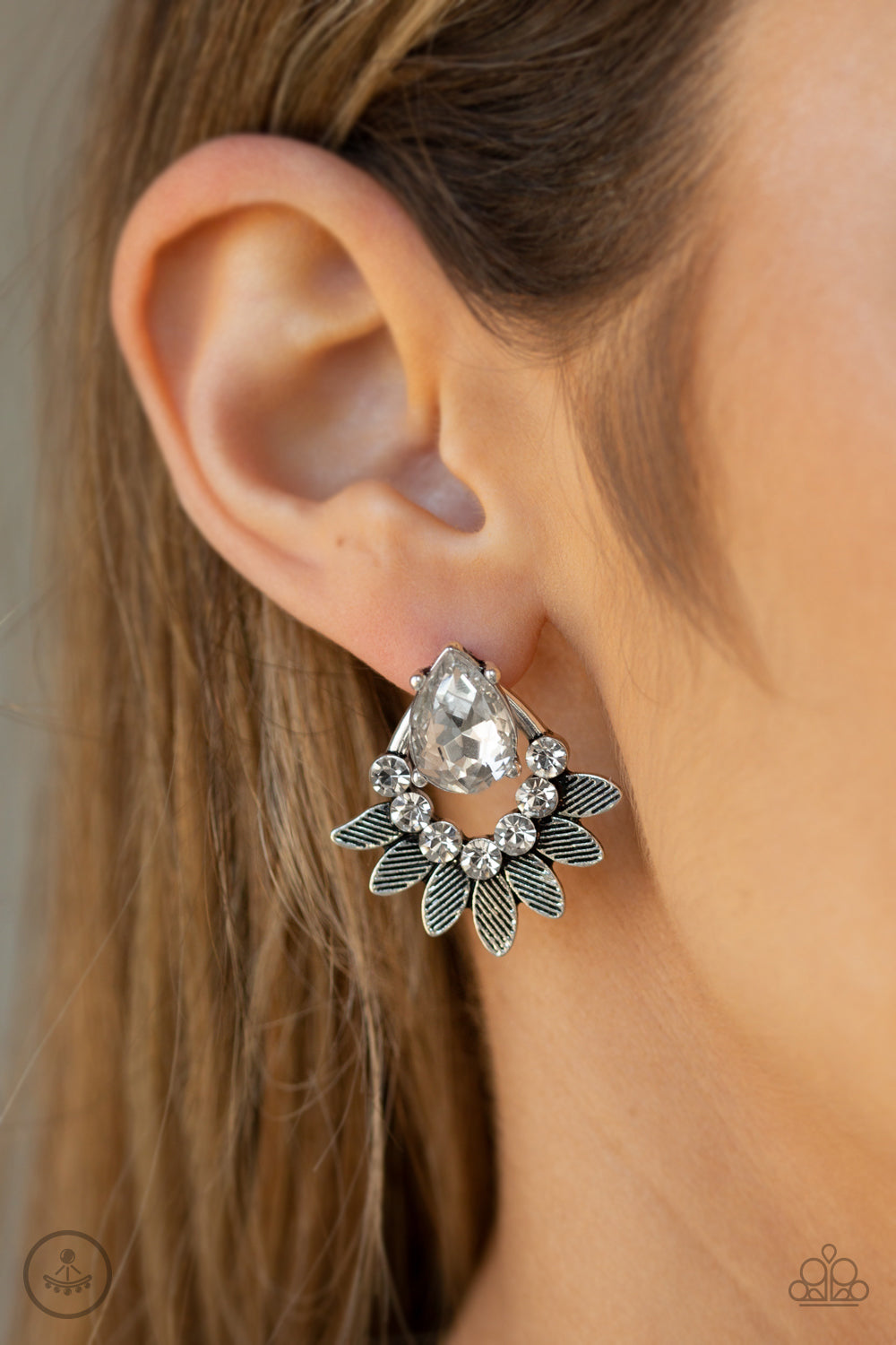 Crystal Canopy - White Post Earrings - Paparazzi Accessories