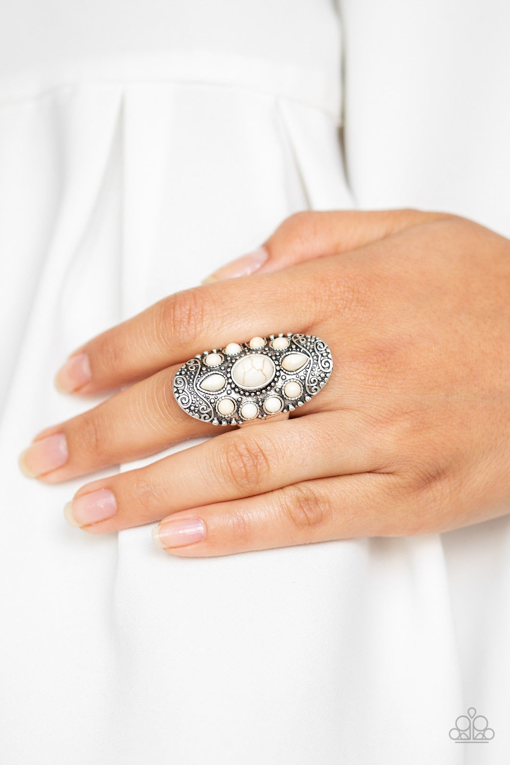 Stone Sunrise - White Ring - Paparazzi Accessories