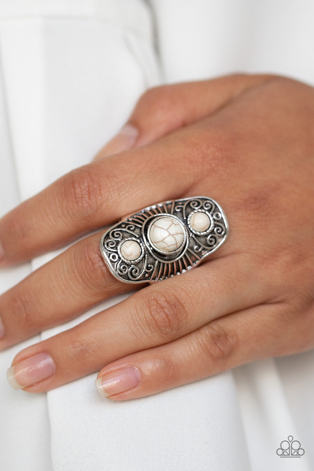 Stone Oracle - White Ring - Paparazzi Accessories