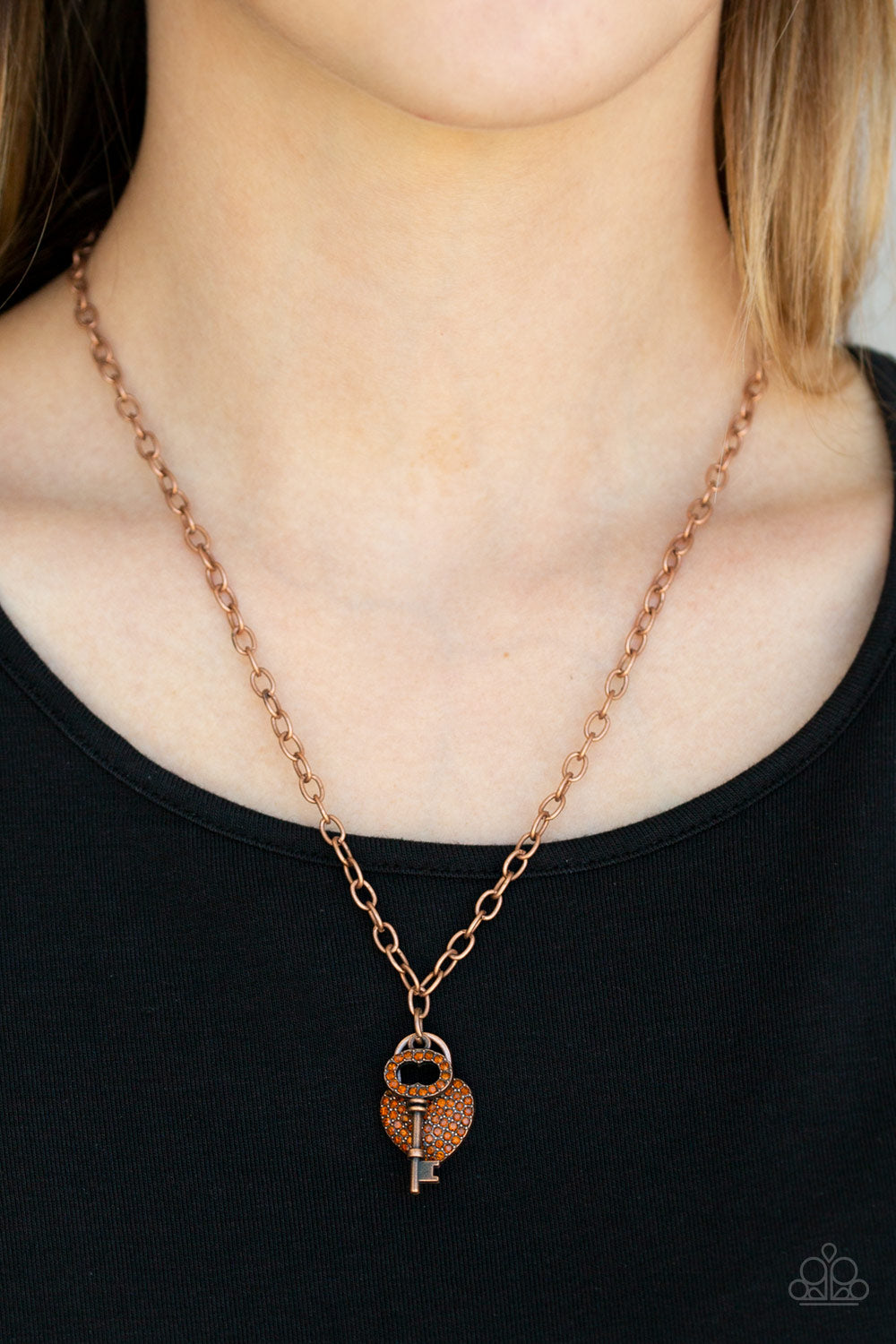 Pop and LOCKET - Copper Necklace - Paparazzi Accessories