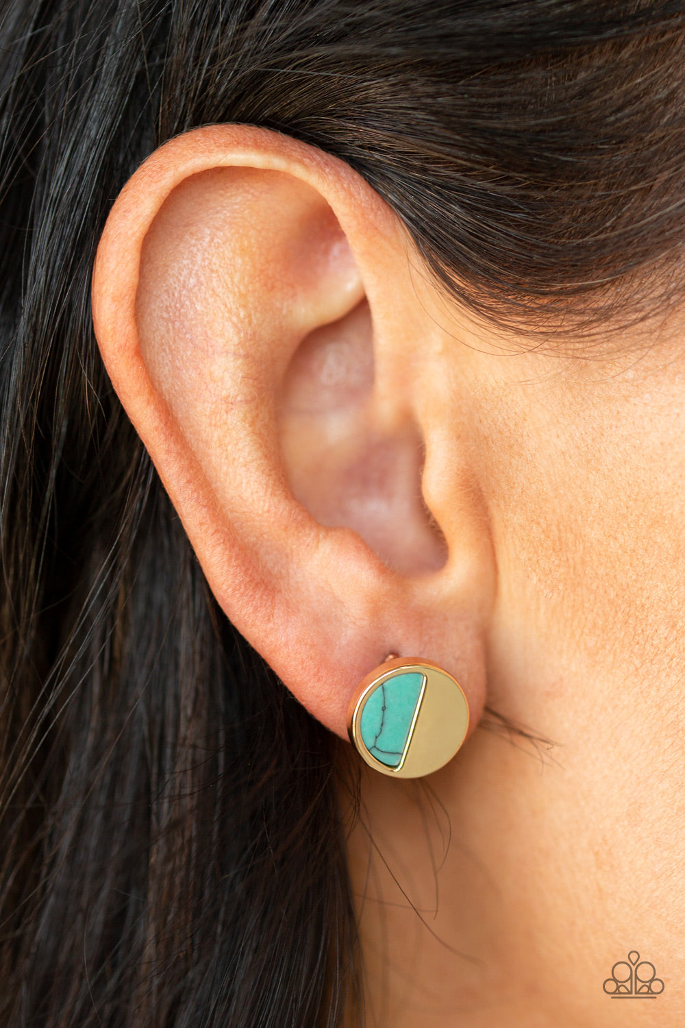 Marble Minimalist - Blue Post Earrings - Paparazzi Accessories