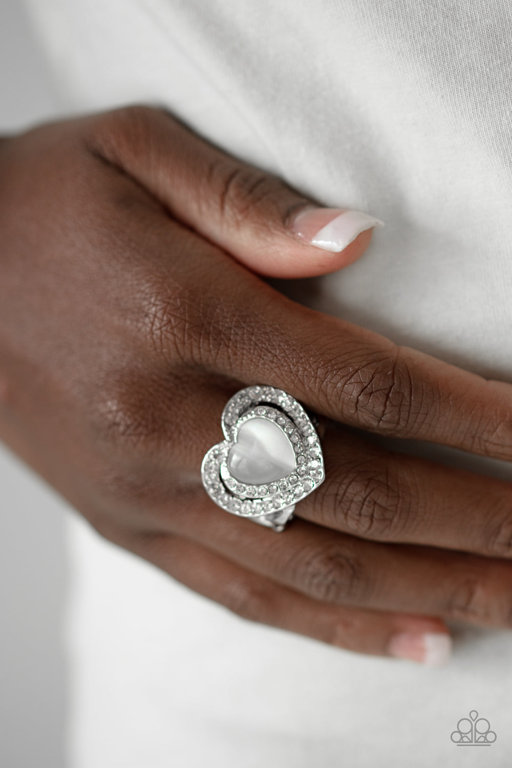What The Heart Wants - White Ring - Paparazzi Accessories