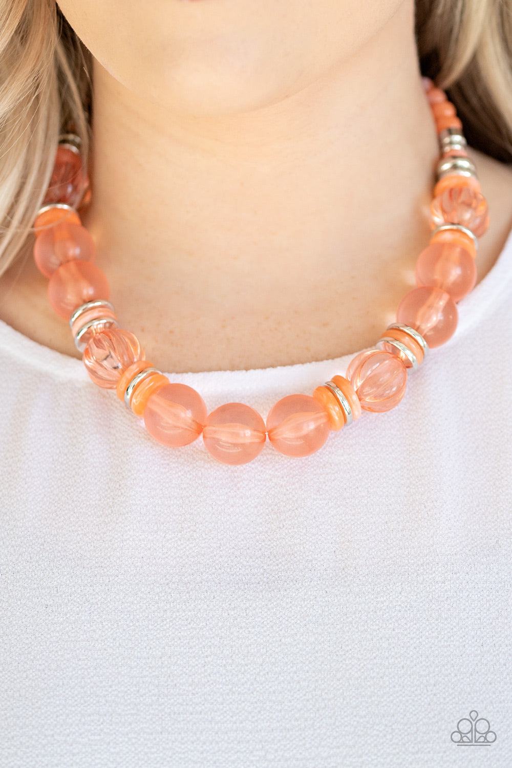 Bubbly Beauty - Orange Necklace - Paparazzi Accessories