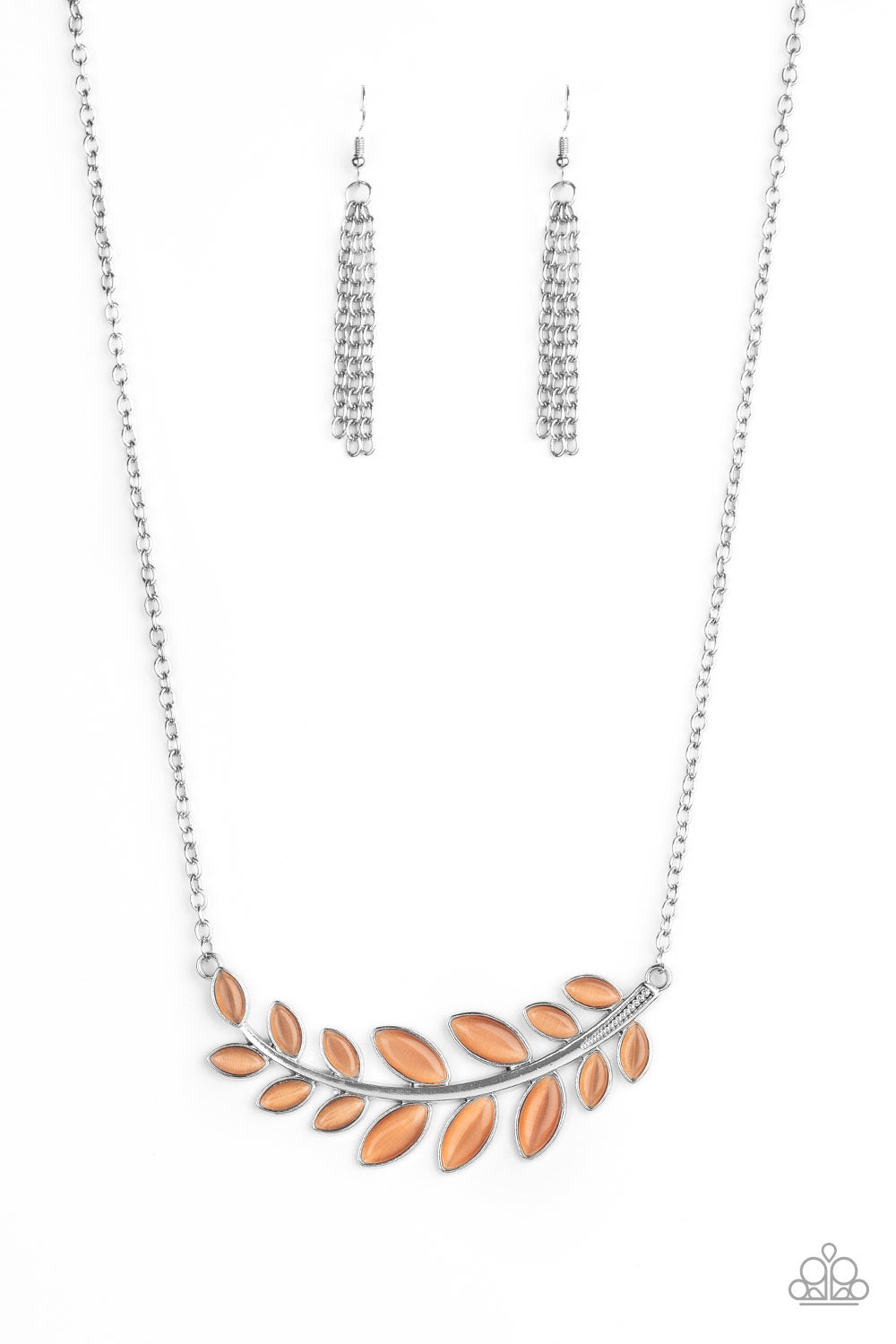 five-dollar-jewelry-frosted-foliage-orange-necklace-paparazzi-accessories