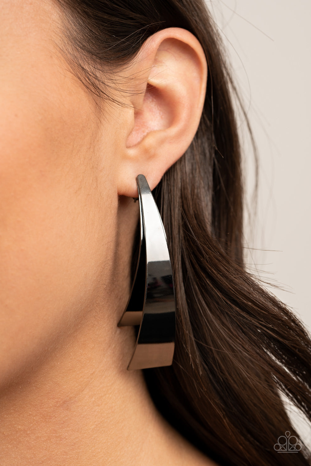 Underestimated Edge - Black Post Earrings - Paparazzi Accessories