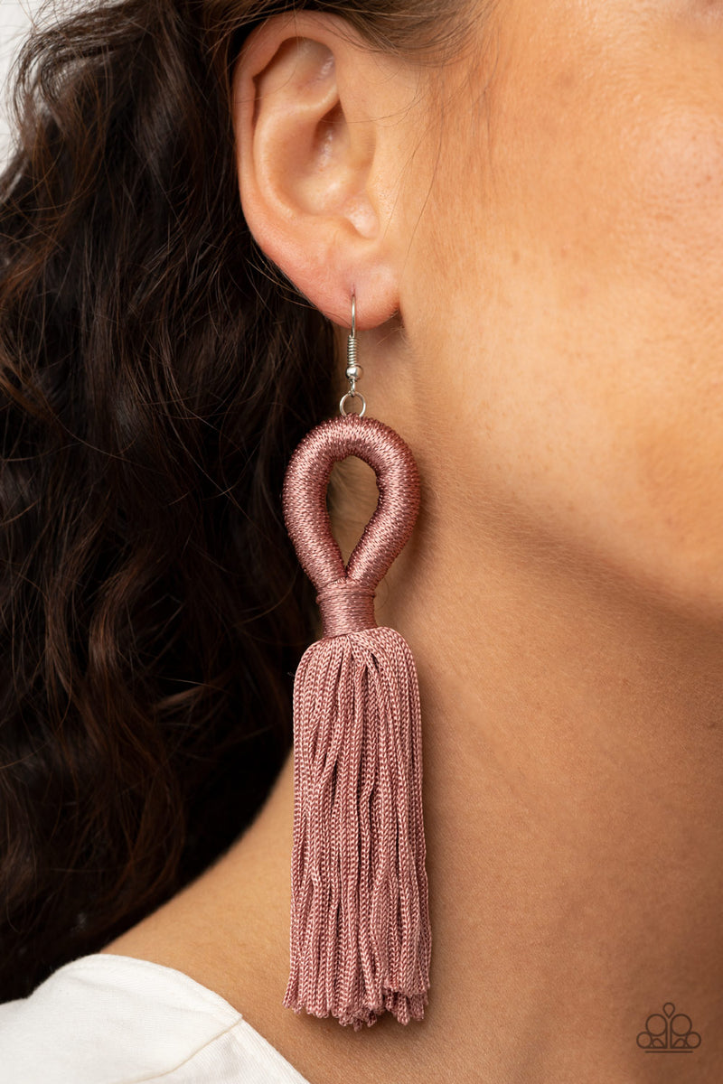 Tassels and Tiaras - Pink Earrings - Paparazzi Accessories