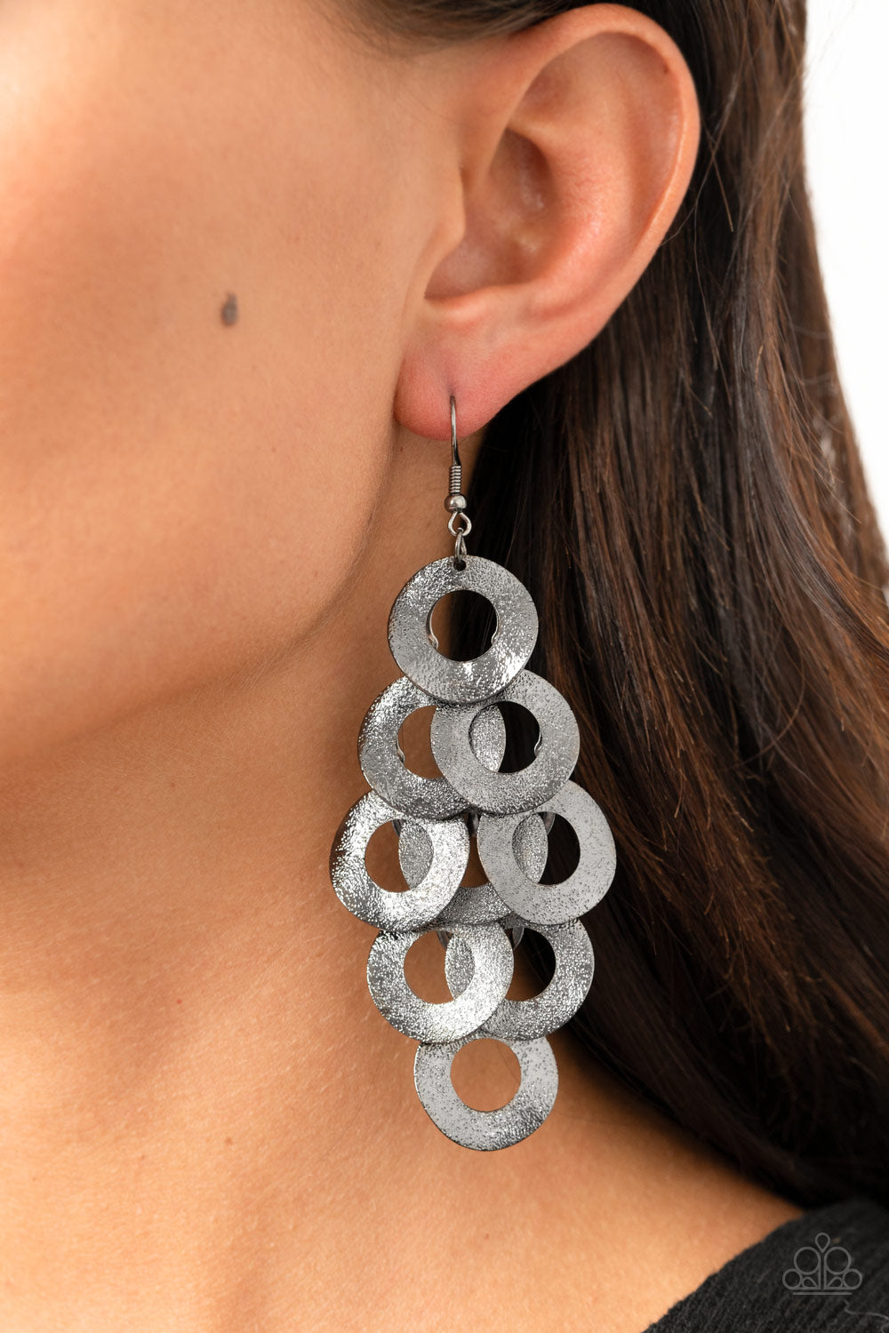 Scattered Shimmer - Black Earrings - Paparazzi Accessories