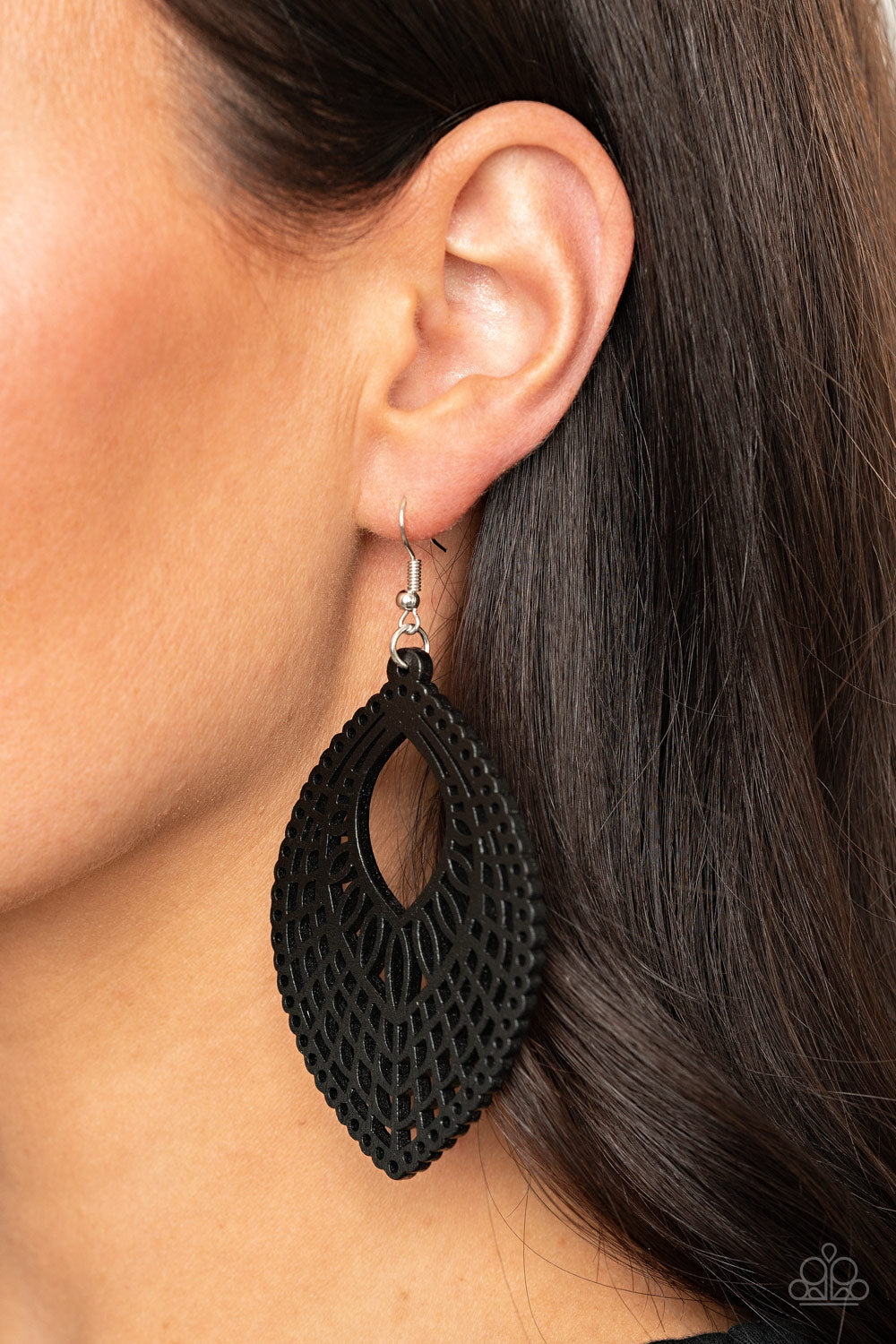 One Beach At A Time - Black Earrings - Paparazzi Accessories