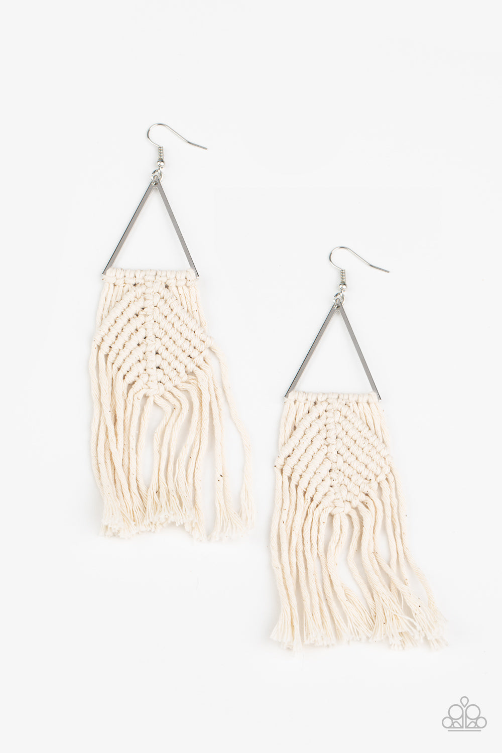 five-dollar-jewelry-macrame-jungle-white-earrings-paparazzi-accessories