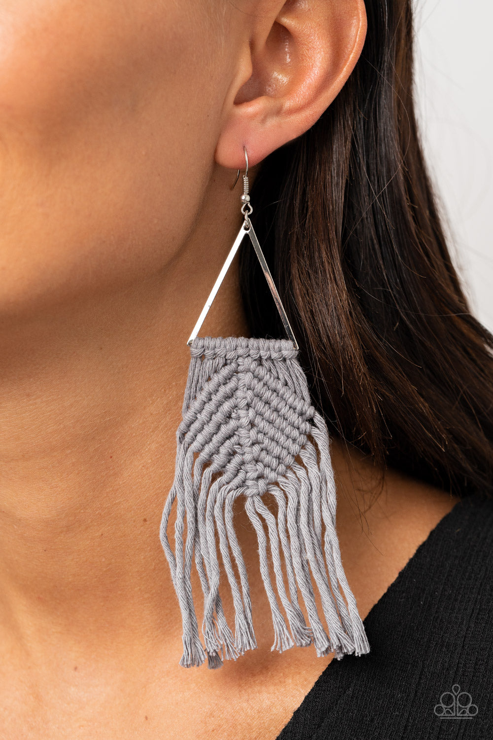 Macrame Jungle - Silver Earrings - Paparazzi Accessories