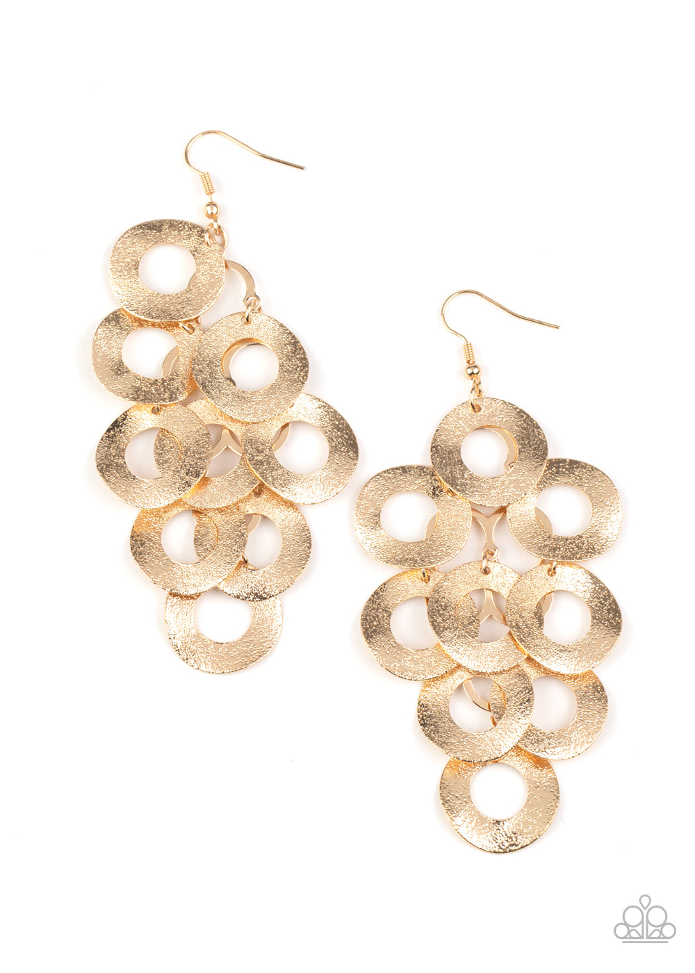 five-dollar-jewelry-scattered-shimmer-gold-earrings-paparazzi-accessories