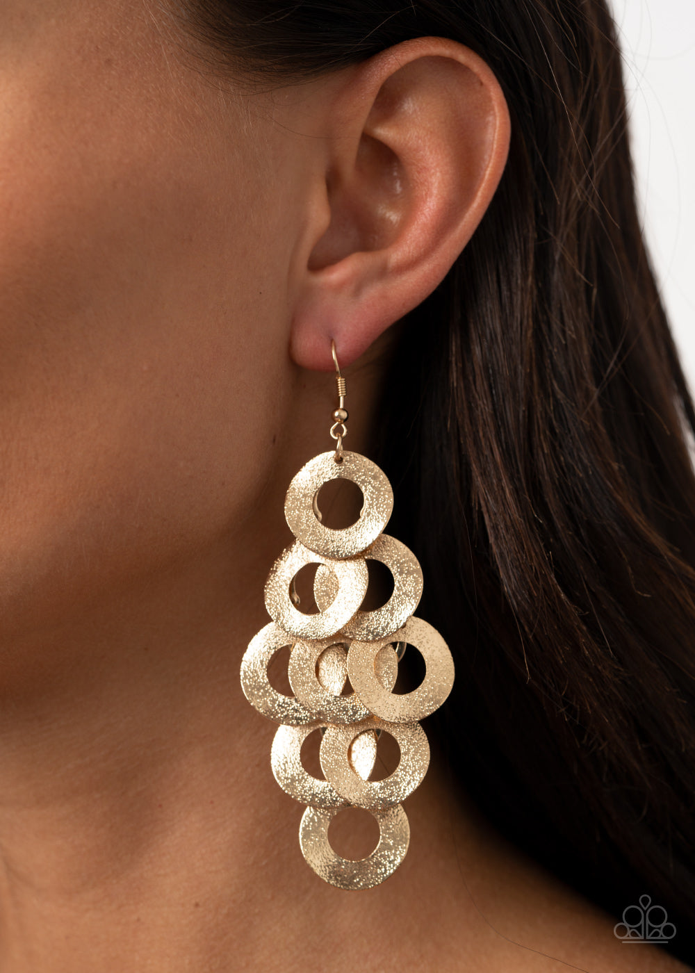 Scattered Shimmer - Gold Earrings - Paparazzi Accessories