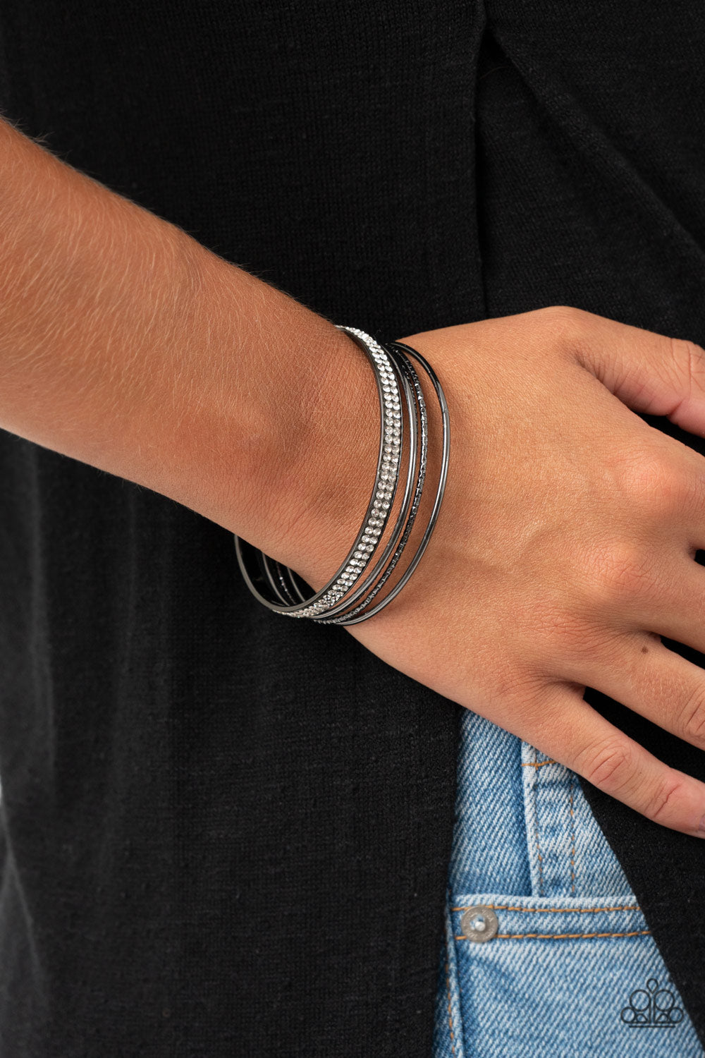 Heap It On - Black Bracelet - Paparazzi Accessories