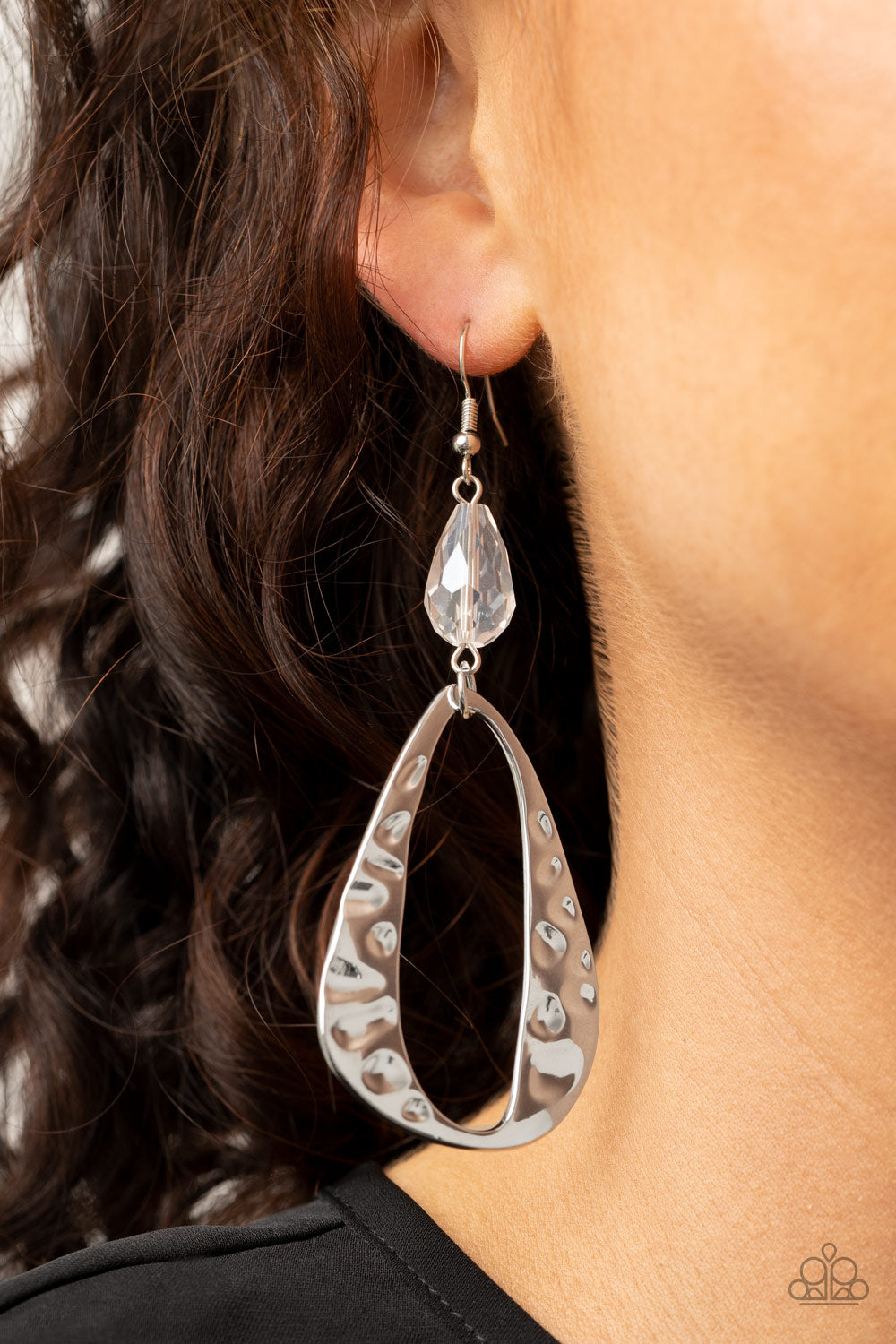 Enhanced Elegance - White Earrings - Paparazzi Accessories