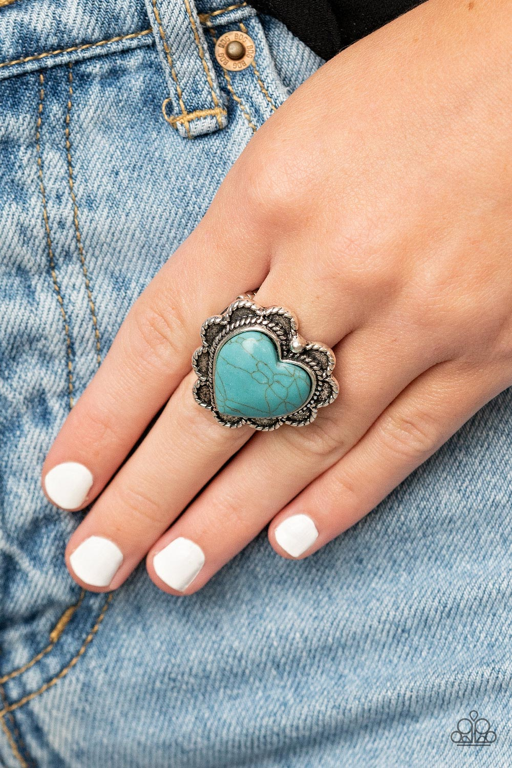 Desert Desire - Blue Ring - Paparazzi Accessories