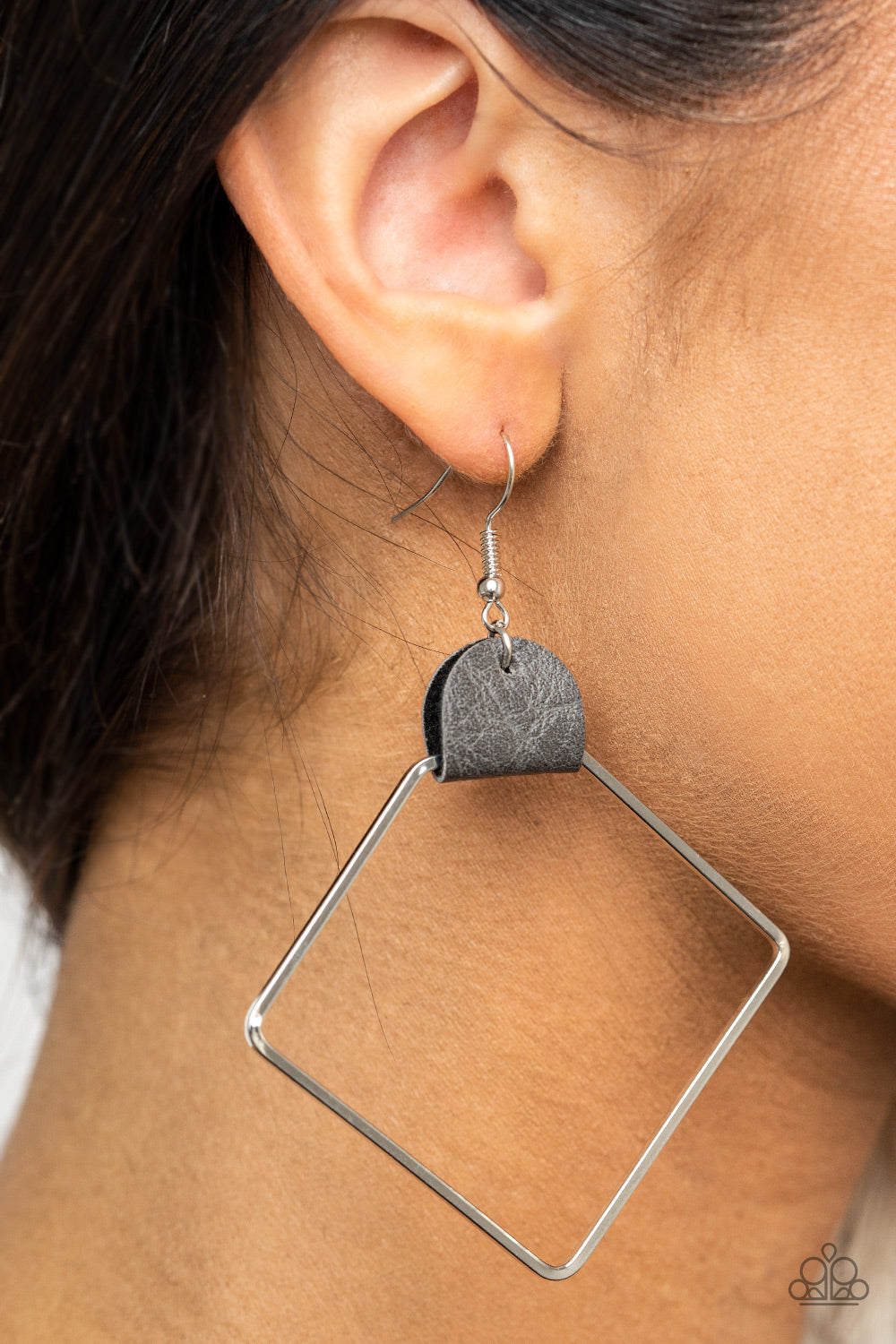 Friends of a LEATHER - Silver Earrings - Paparazzi Accessories