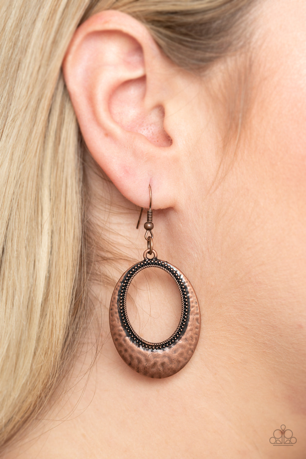 Tempest Texture - Copper Earrings - Paparazzi Accessories