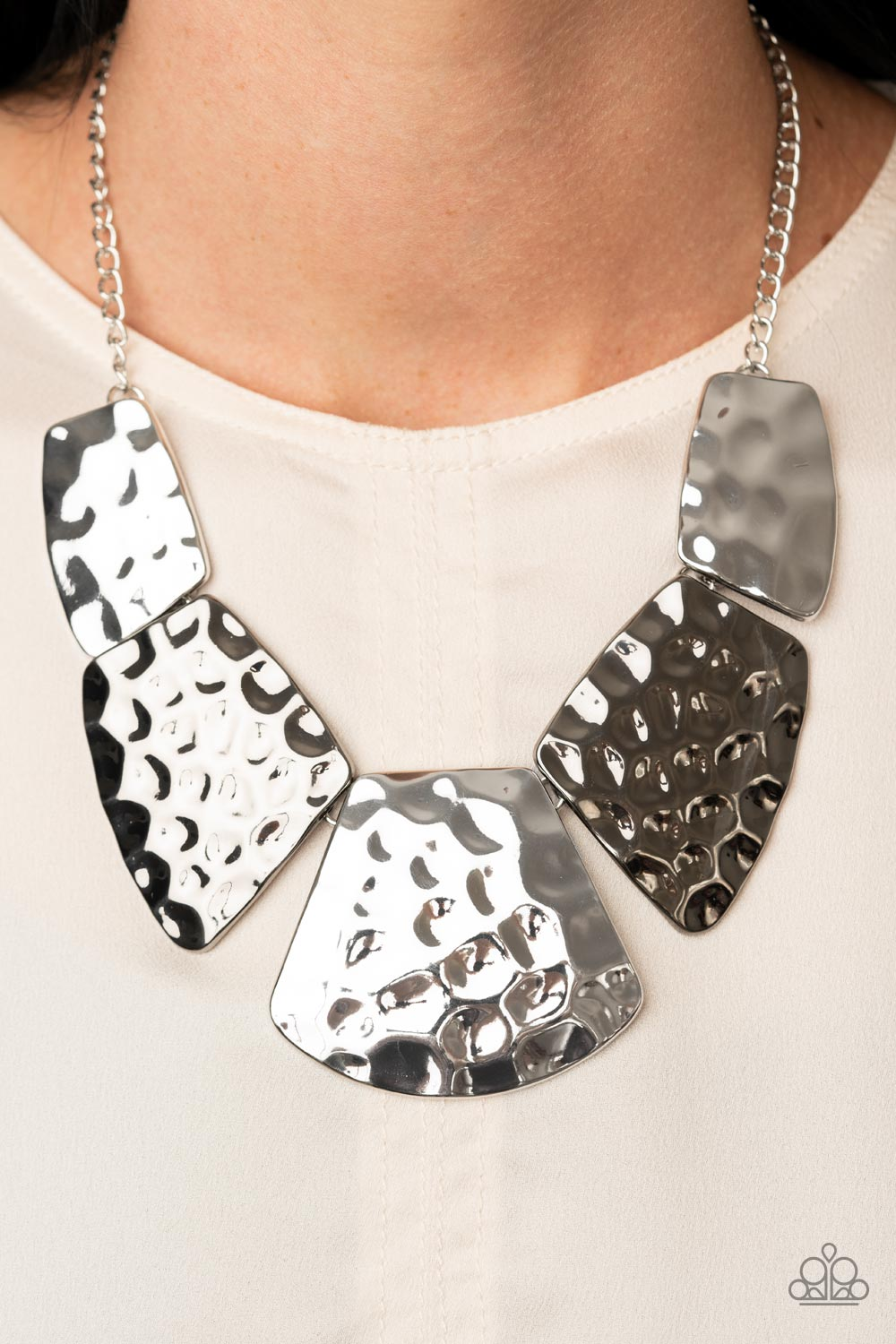 HAUTE Plates - Silver Necklace - Paparazzi Accessories