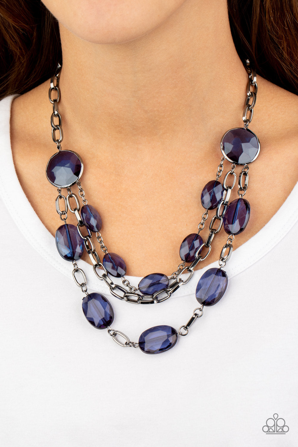 I Need a GLOW-cation - Blue Necklace - Paparazzi Accessories