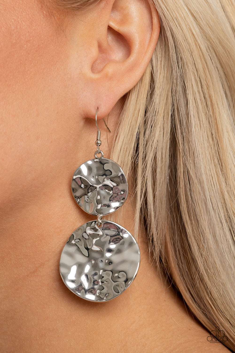 HARDWARE-Headed - Silver Earrings - Paparazzi Accessories