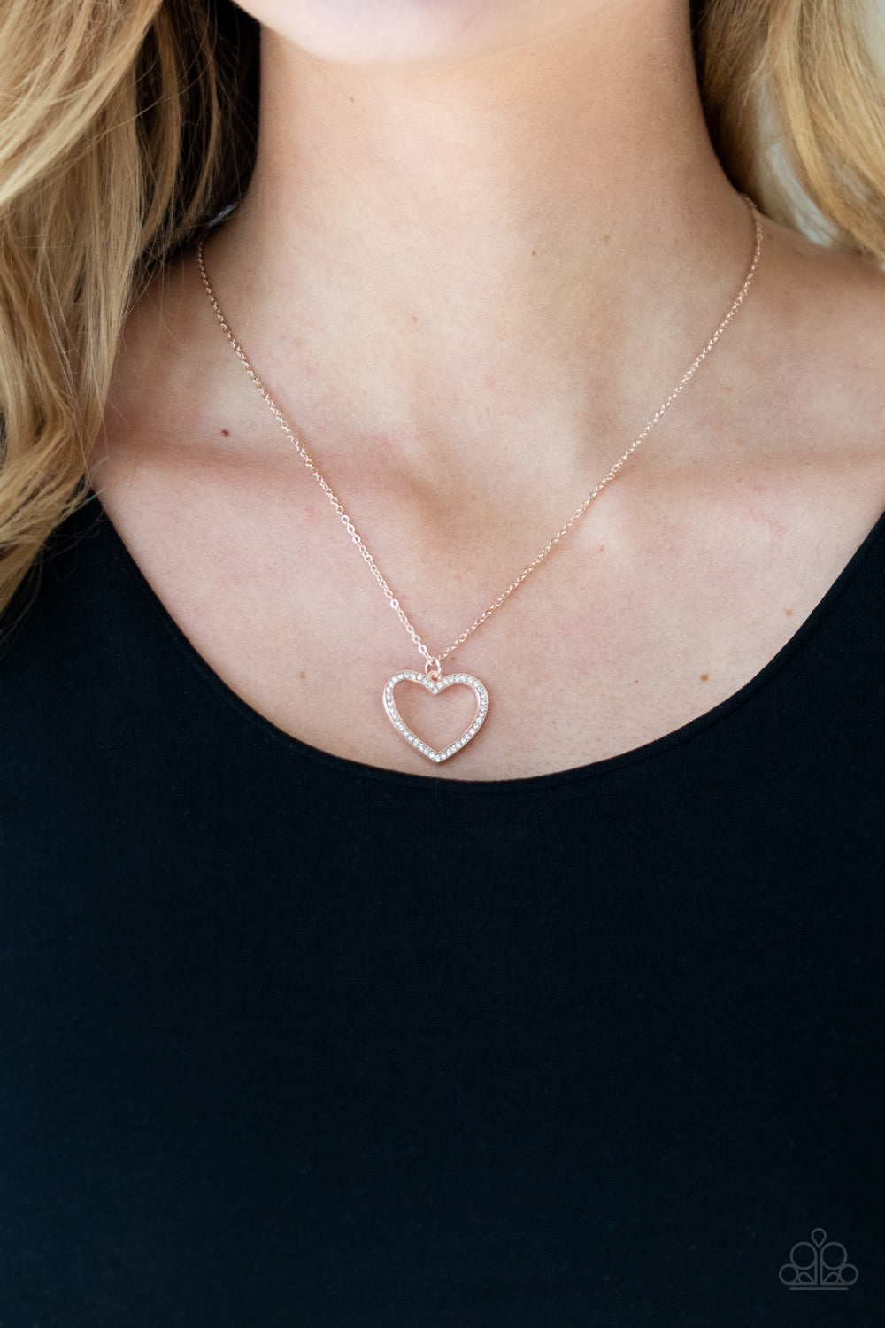 GLOW by Heart - Rose Gold Necklace - Paparazzi Accessories