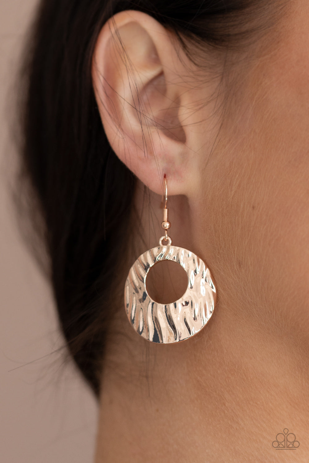 Warped Perceptions - Rose Gold Earrings - Paparazzi Accessories