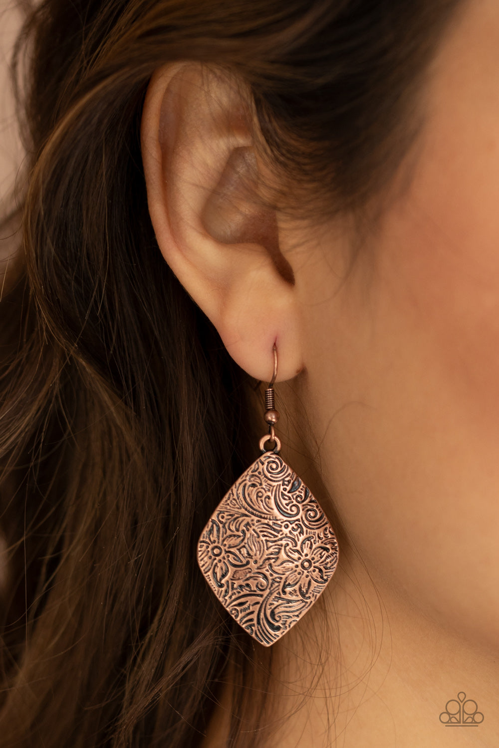 Flauntable Florals - Copper Earrings - Paparazzi Accessories