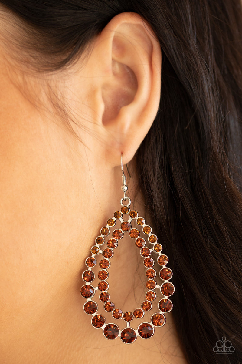 Glacial Glaze - Brown Earrings - Paparazzi Accessories