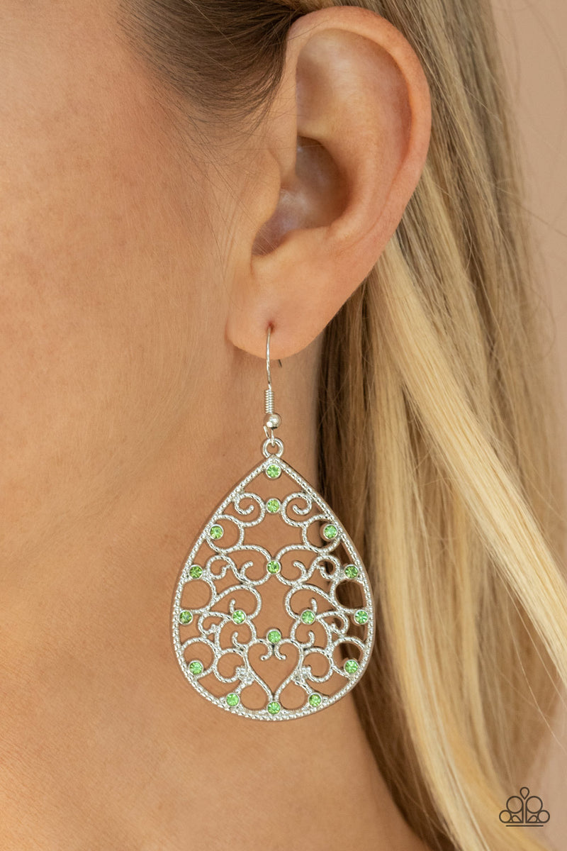 Midnight Carriage - Green Earrings - Paparazzi Accessories