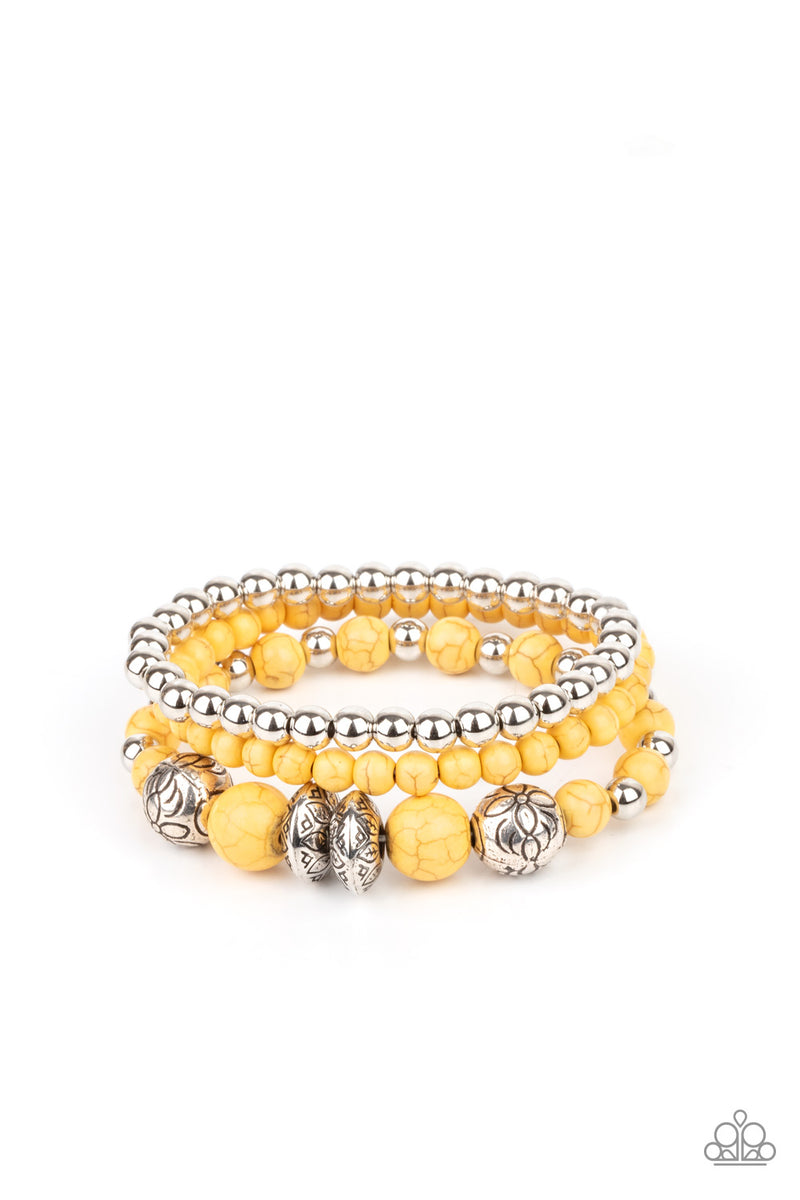five-dollar-jewelry-desert-blossom-yellow-bracelet-paparazzi-accessories