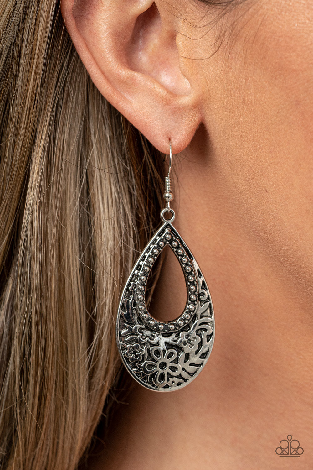 Organically Opulent - Silver Earrings - Paparazzi Accessories