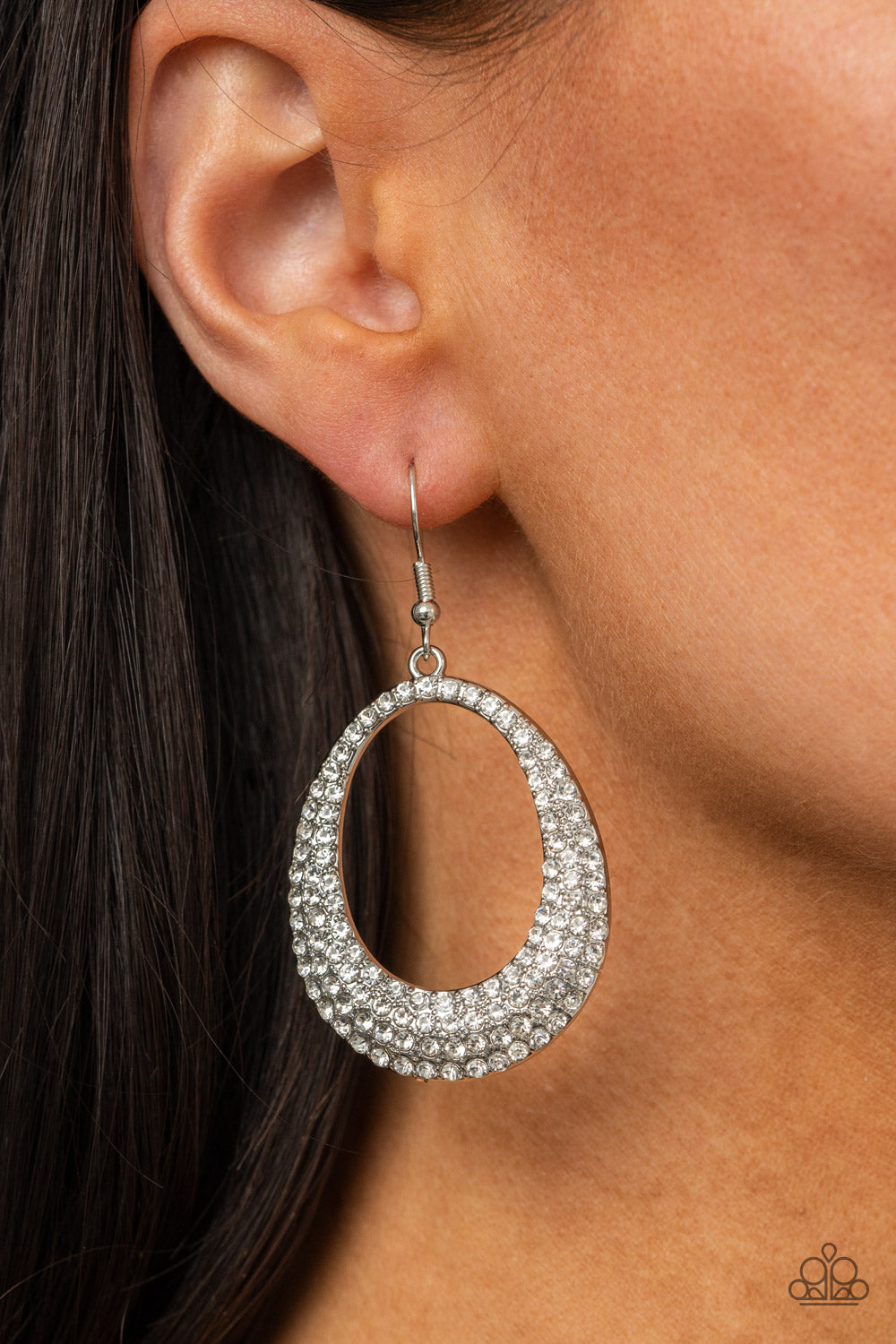 Life GLOWS On - White Earrings - Paparazzi Accessories