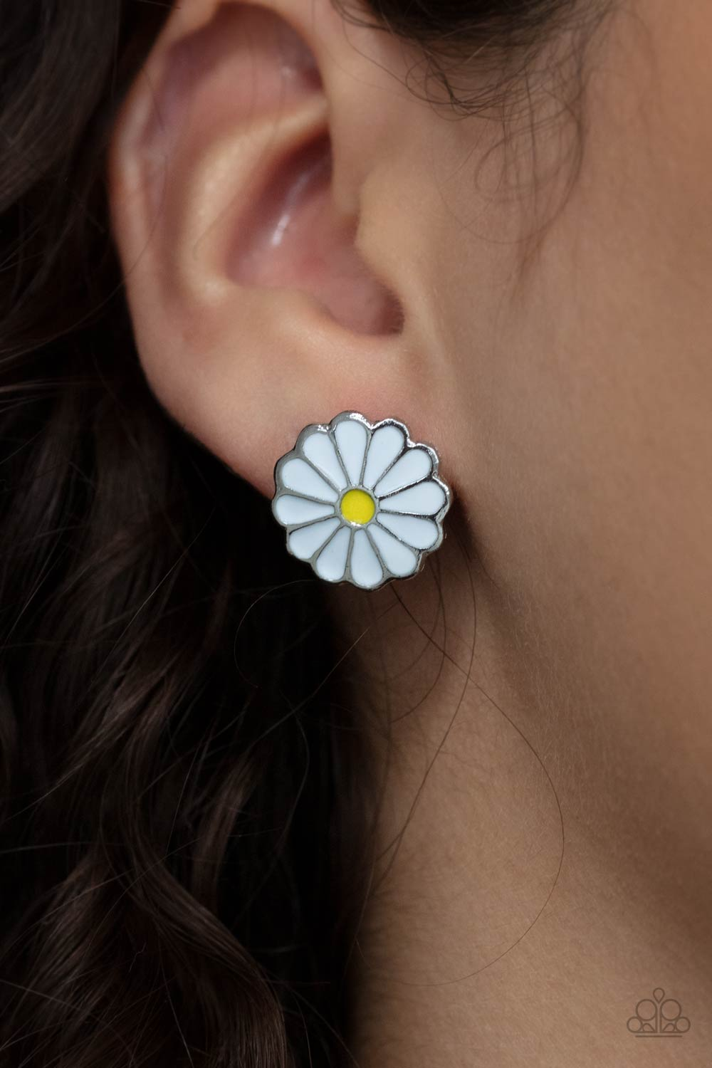 Budding Out - White Post Earrings - Paparazzi Accessories