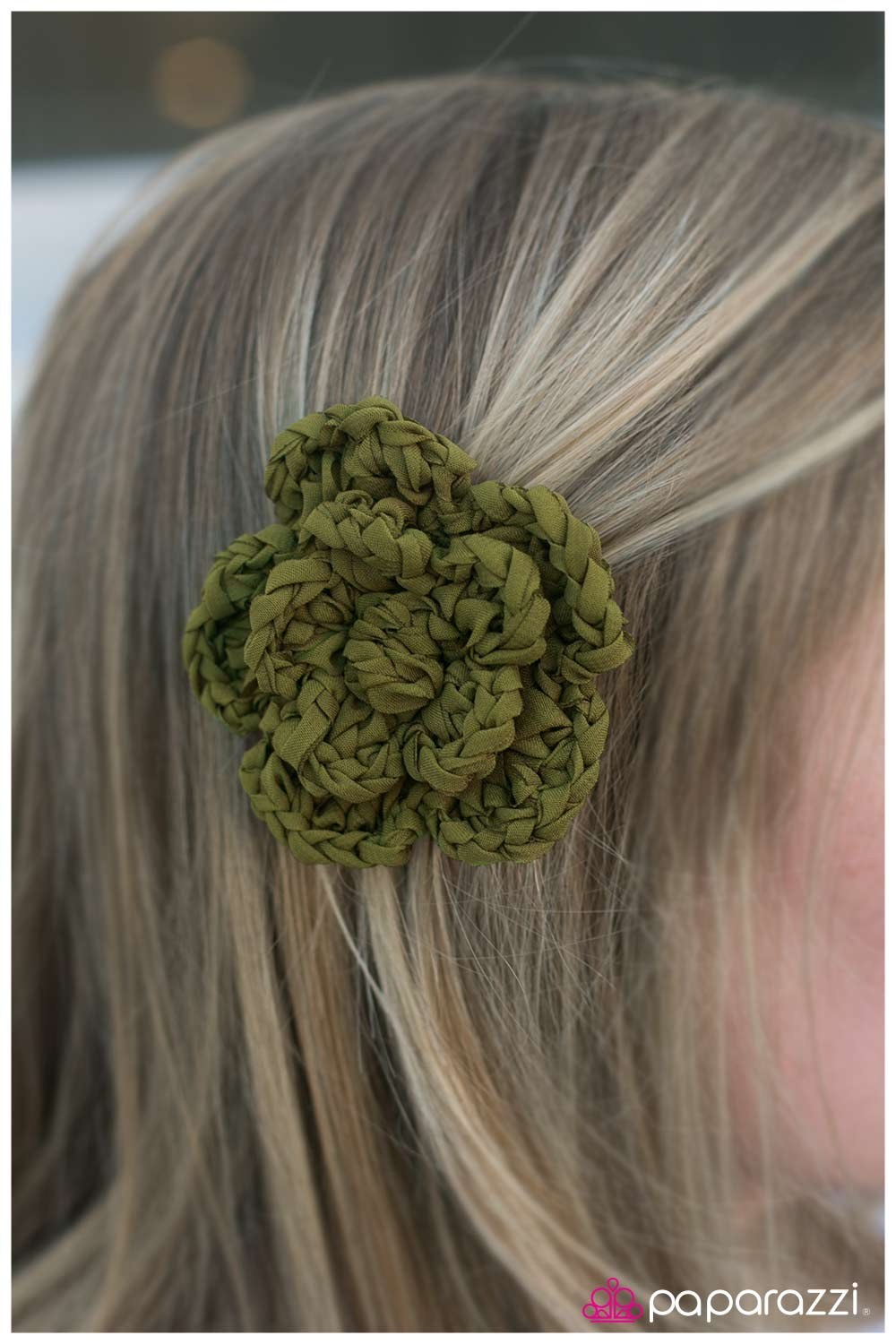 five-dollar-jewelry-braided-bouquet-green-hair clip-paparazzi-accessories