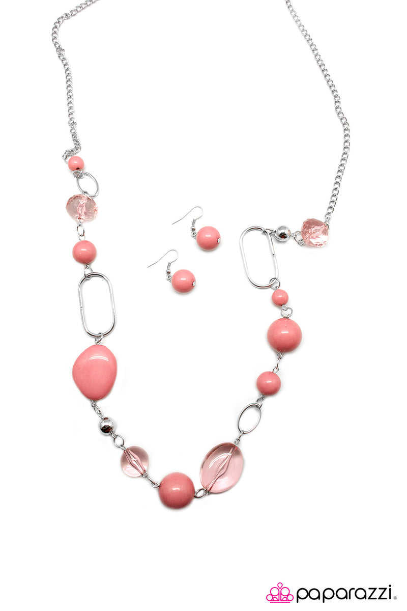 Rolling Stones - Pink Necklace - Paparazzi Accessories