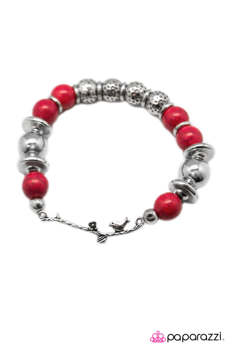 A Little Bird Told Me - Red Bracelet - Paparazzi Accessories