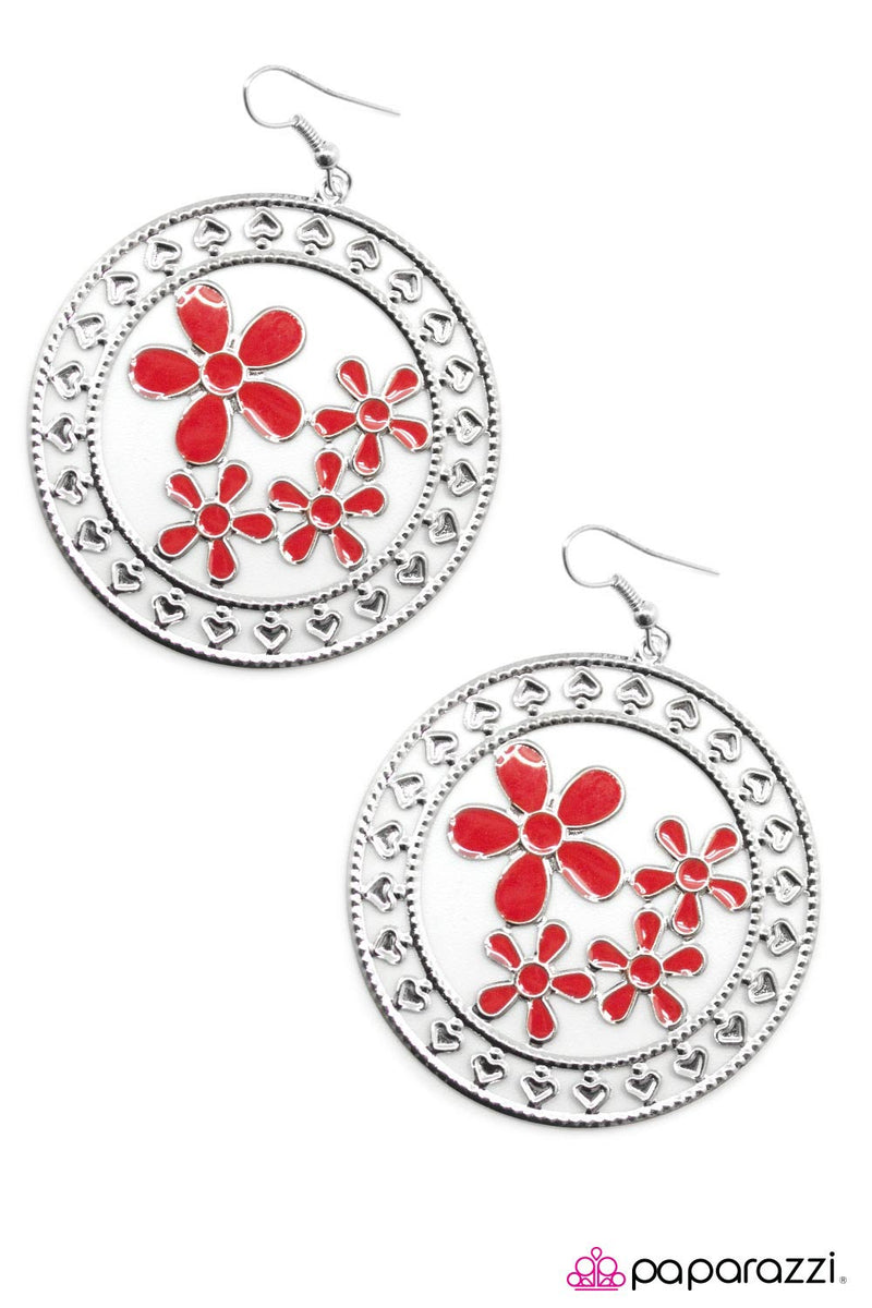 Springtime Pleasure - Red Earrings - Paparazzi Accessories