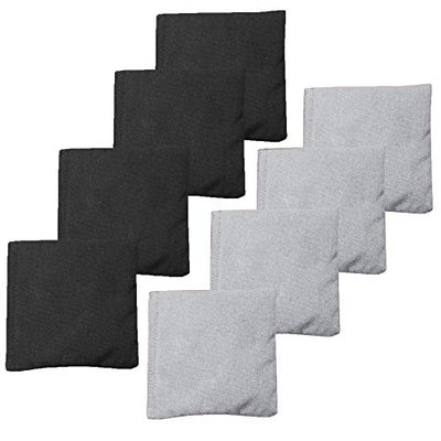 Weather Resistant Cornhole Bean Bags Set of 8 - Duck Cloth - Regulation Size & Weight - Silver and Black